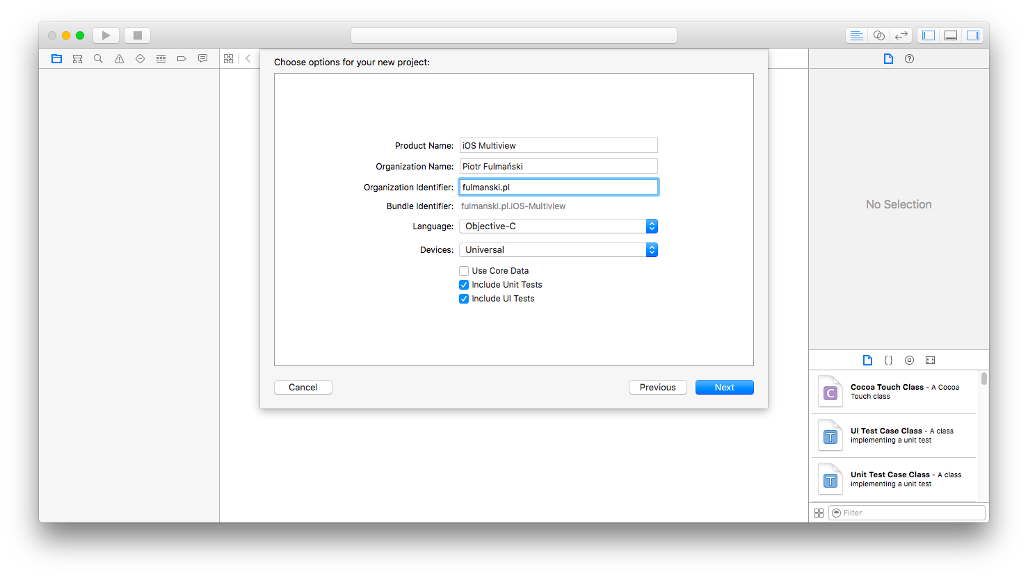 Objective c background image no repeat -  Set The Language To Objective C Devices Pop Up Button To Universal And Make Sure The Check Box Labeled Use Core Data Is Unchecked