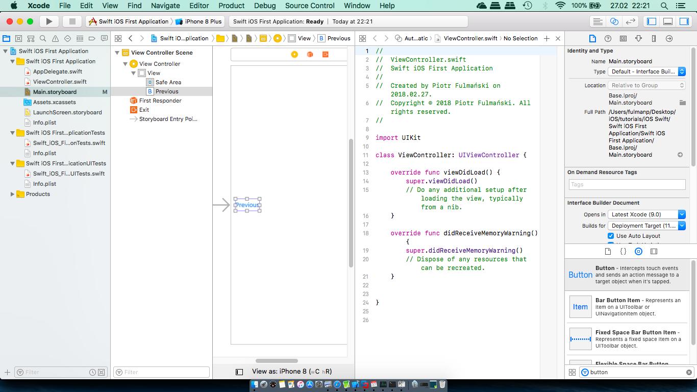 First application (Swift) – Tutorials
