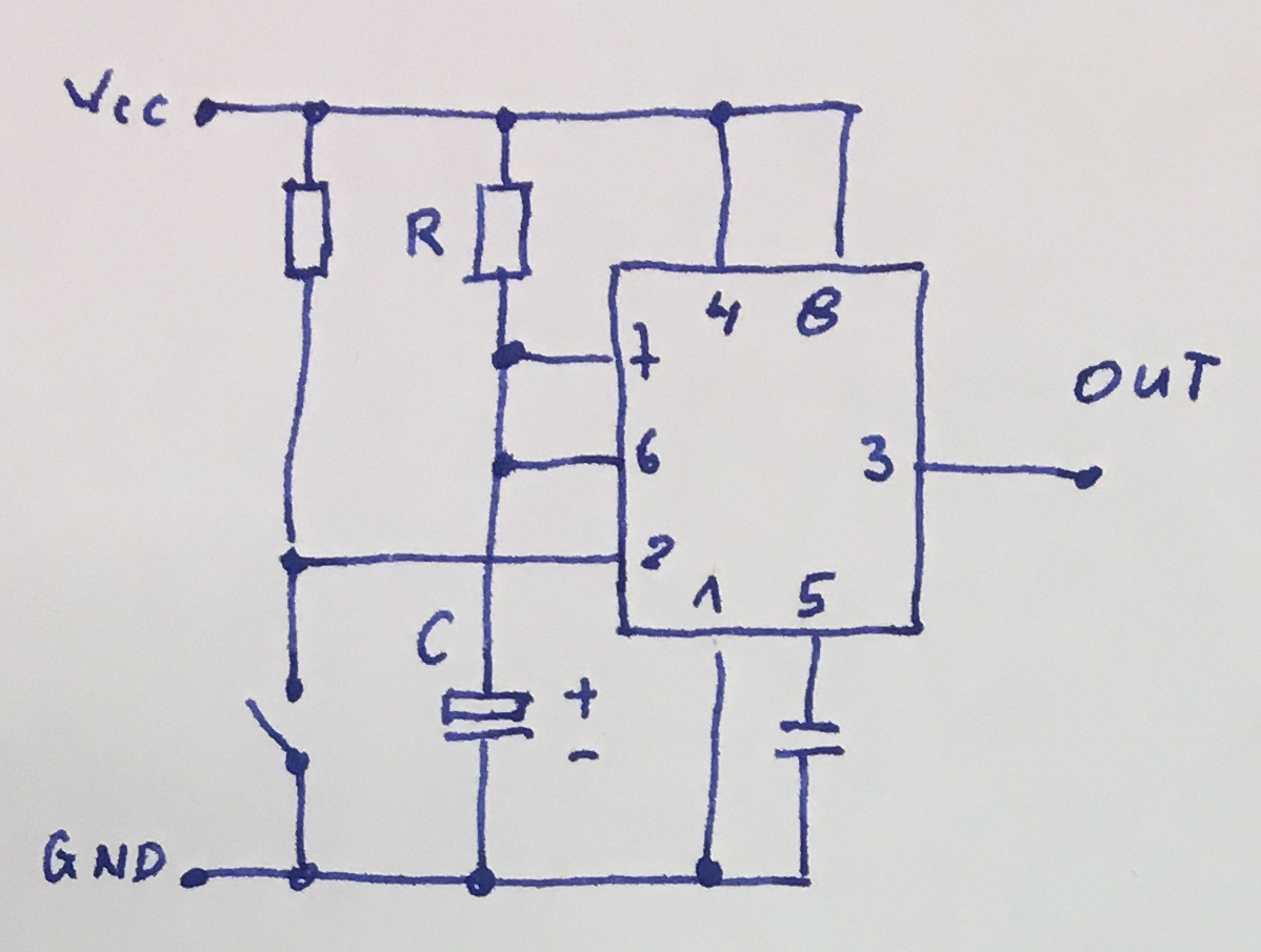 555 Tutorials Bistable Timer Flipflop Typical Connections Of A In Monostable Mode