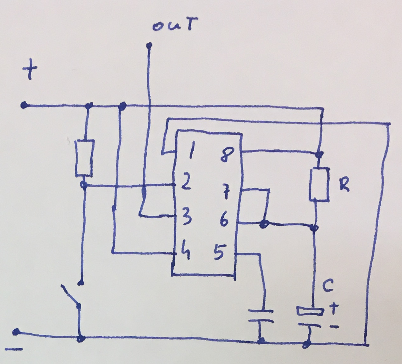 555 Tutorials Diagram Ic As A Stable Circuit Figure Internal Typical Connections Of Timer In Monostable Mode