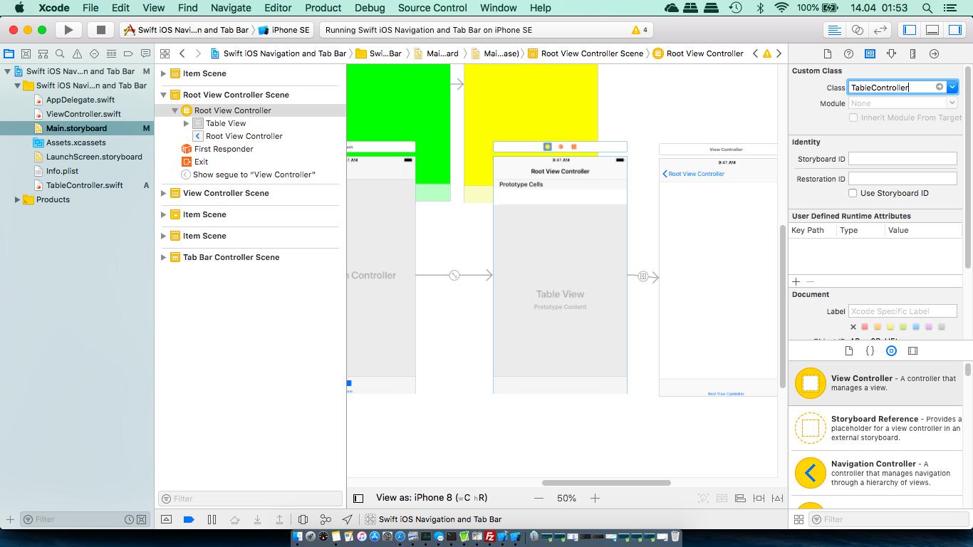 Navigation controller and tab bar controller (Swift) – Tutorials